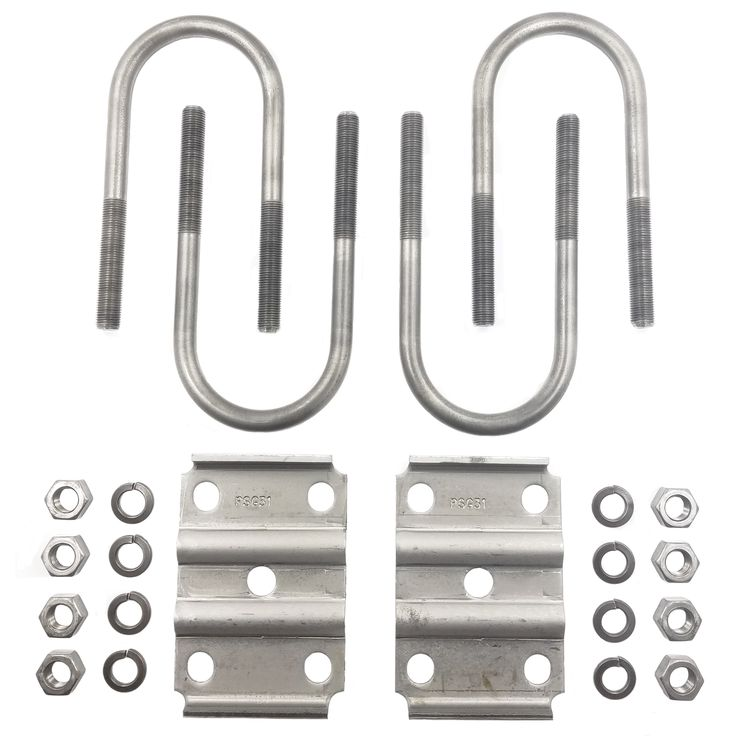 U-Bolt Kit for Mounting a 3″ Round Trailer Axle (5,200-7,000 lbs)  Mount your 3″ Round Diameter Trailer Axle to your Trailers Leaf Springs with this U-Bolt Kit,   Fits 2″ Wide Springs, Rockwell American