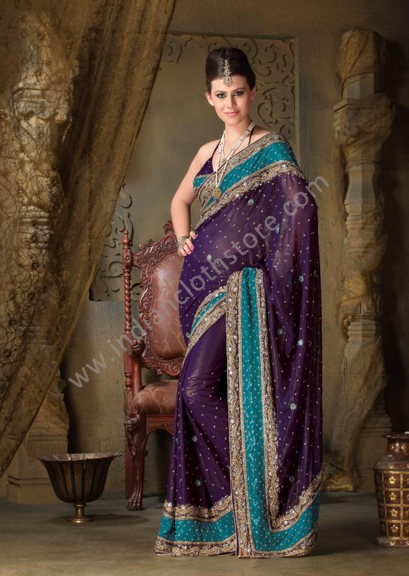 $306.35 Deep Purple And Teal Blue Fabric Shimmer Saree 14732306 35 Deep, Blue Fabrics, Deep Purple, Blue Shimmer, Teal Blue, Purple Teal, Saree 14732, Ashika Shimmer, Shimmer Saree