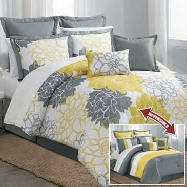 Yellow and gray bedroom (Anna's Linens)