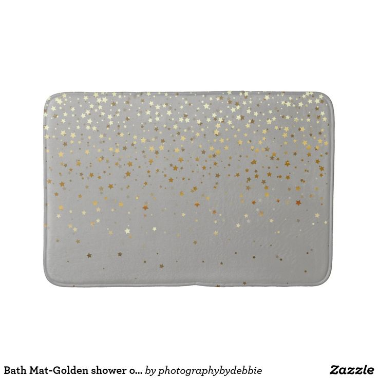 Bath Mat-Golden shower of Stars-Grey Bath Mat