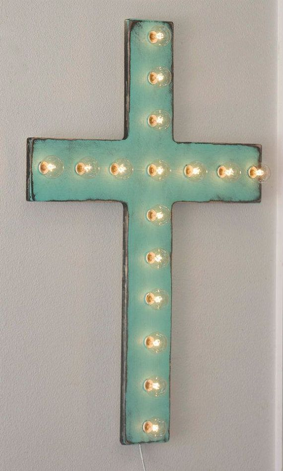 24 Large Custom Cross Vintage Distressed Marquee by JunkArtGypsyz
