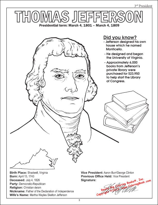 Thomas Jefferson JeffersonColoring SheetsColouring