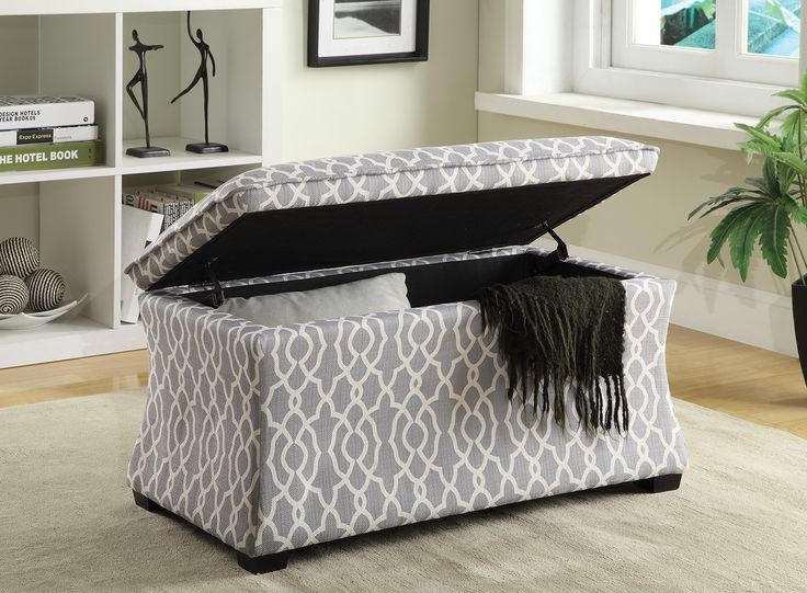 Hourglass Storage Ottoman In Abby Geo Grey From Ave Six   Model #HG3218 G16