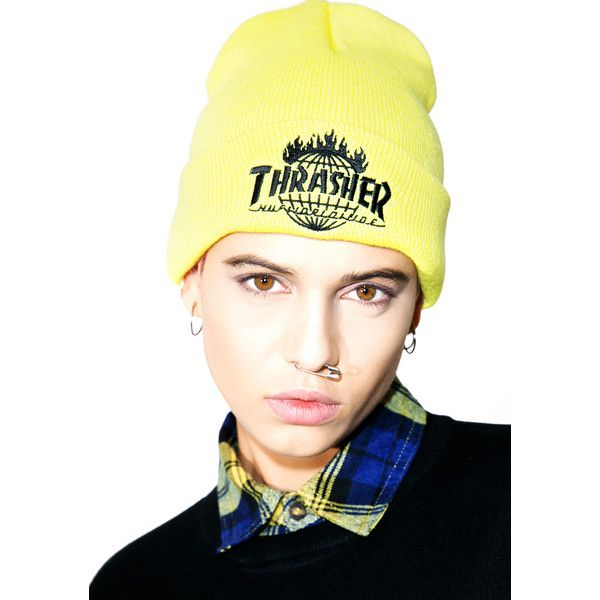 HUF X Thrasher Tour De Stoops Yellow Beanie ($22) ❤ liked on Polyvore featuring accessories, hats, ribbed beanie, embroidered hats, beanie hat, yellow beanie and beanie cap