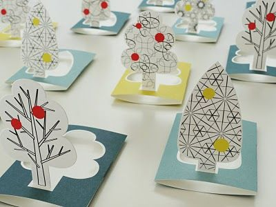 cut-out tree stand-up. Simple seating card or decor