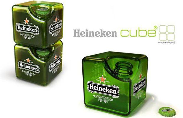 Heineken Shares Space Saving Cube Bottle Concept