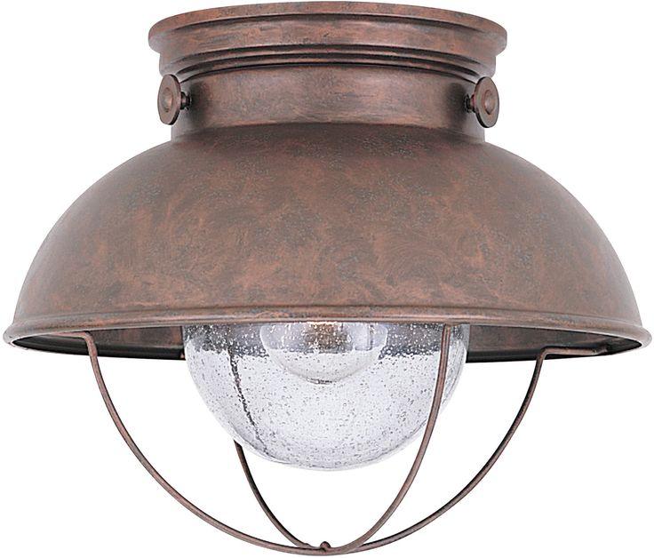 0-013084>Sebring 1-Light Outdoor Flush Mount Weathered Copper