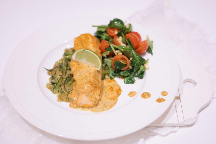 Salmon au gratin in lime sauce