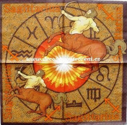 Ubrousky 25 x 25 cm | Znamení zvěrokruhu | Znamení Střelec | Decoupage, ubrousky, dekorace, Twist Art