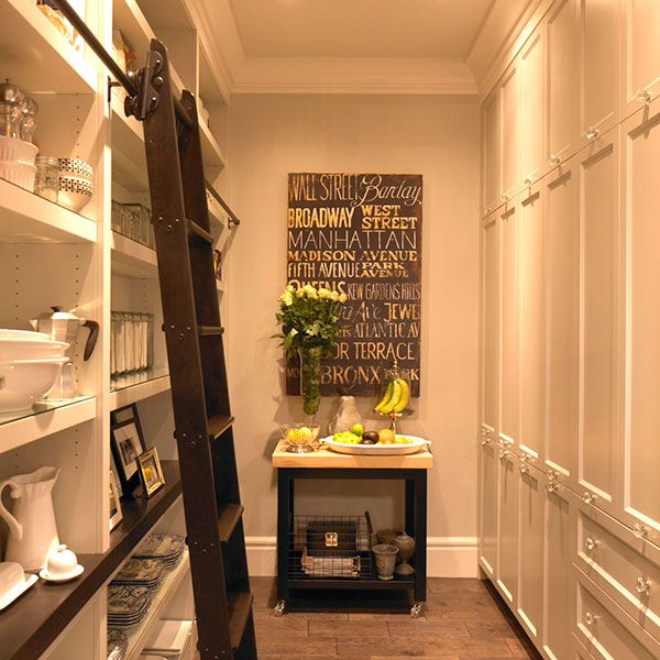 Laundry Room Pantry Ideas Benjamin Moore Antique White: Kitchen Pantry With Ladder On Rails, Transitional, Kitchen