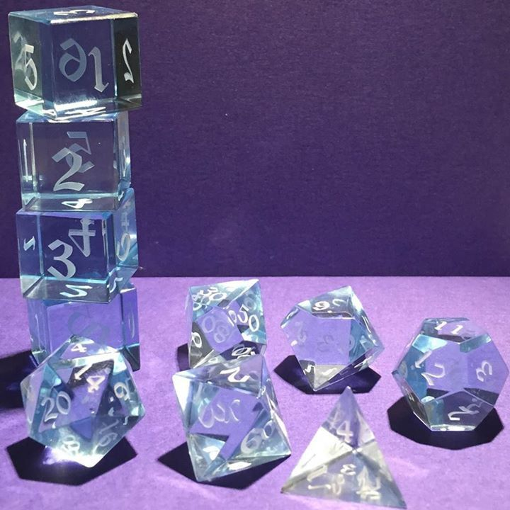 Stunning Optically Clear Acrylic Gaming Dice by Artisan Dice