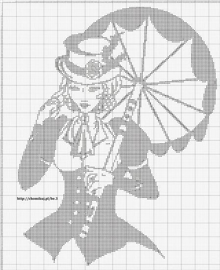 ***saved***0 point de croix monochrome femme ombrelle - cross stitch lady and parasol