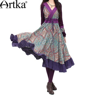 #Swanmarks Artka Purple Series Printing Chinese Traditional Style Dress