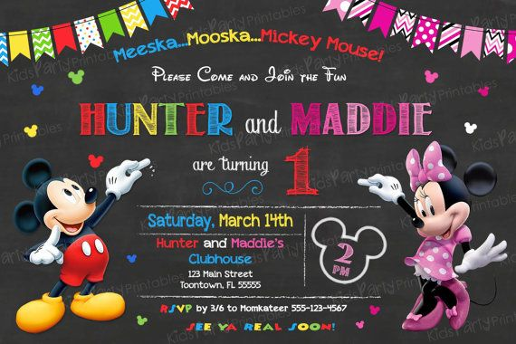 Mickey and Minnie Invitation PRINTABLE by KidsPartyPrintables