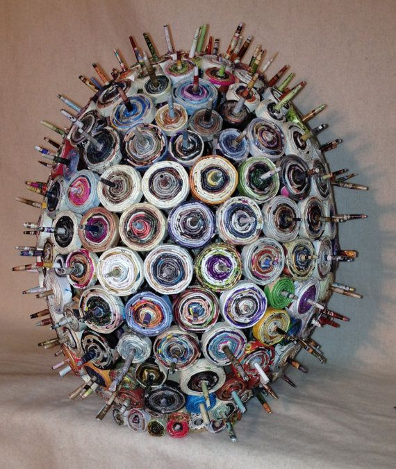 PRICKLY PEAR  Coiled and rolled recycled magazine paper by Artesa