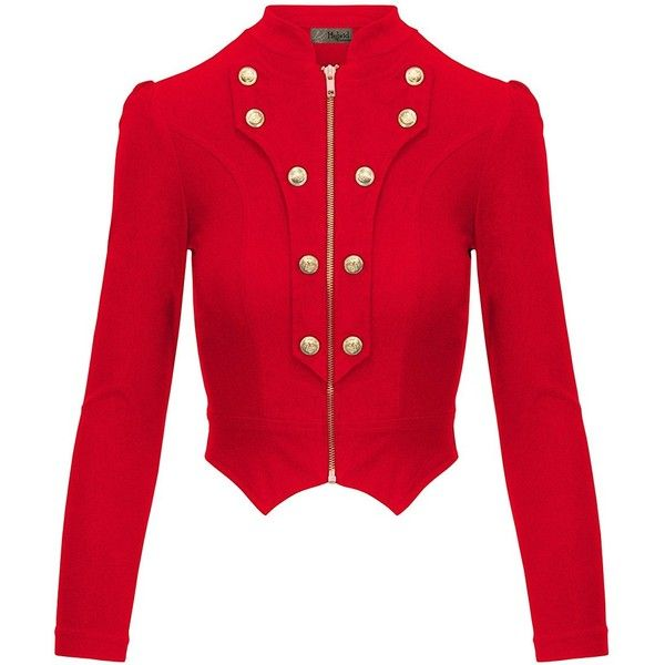 HyBrid Company Women's Military Crop Stretch Gold Zip Up Blazer Jacket ($15) ❤ liked on Polyvore featuring outerwear, jackets, blazers, cropped blazer jacket, blazer jacket, red cropped jacket, military style jacket and zip up jackets