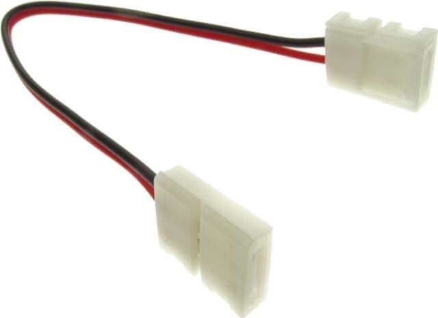 MUFA ALIMENTARE DUBLA BANDA LED 10MM se poate folosi la benzile cu 60 LED-uri per metru si cu puterea de 14.4W. Aceasta mufa de prelungire se poate utiliza la interior, iar lungimea cablului dintre cele doua imbinari este de aproximativ 15 cm.
