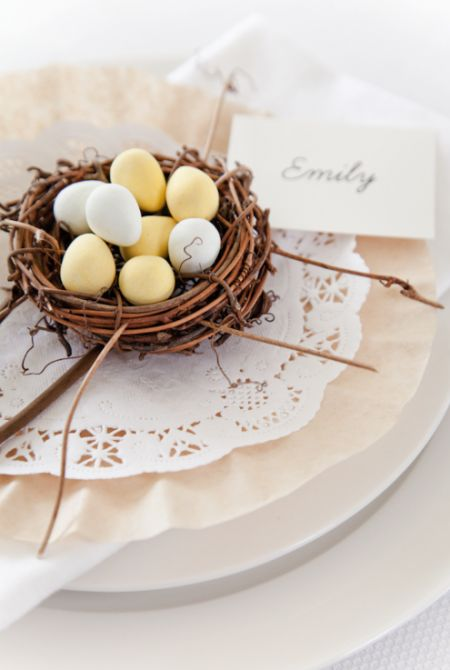 Simple Easter Table Setting: Tablesettings, Table Settings, Idea, Craft, Easter Placesetting, Easter Table, Place Setting, Bird Nests, Spring