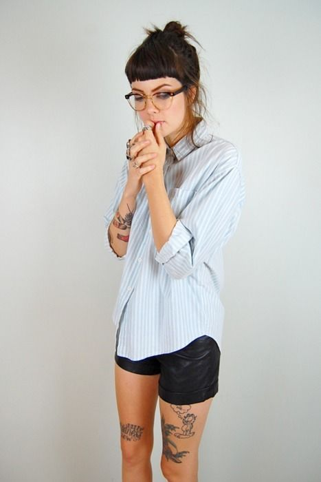 Bf fitted button up and black shorts.