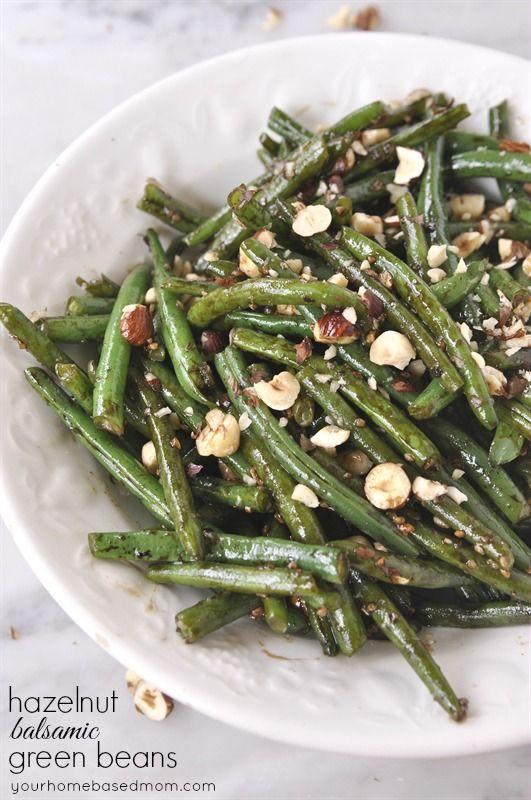 Hazelnut Balsamic Green Beans | YourHomebasedMom.com