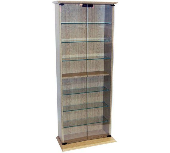 Cd And Dvd Media Storage Display Cabinet Oak