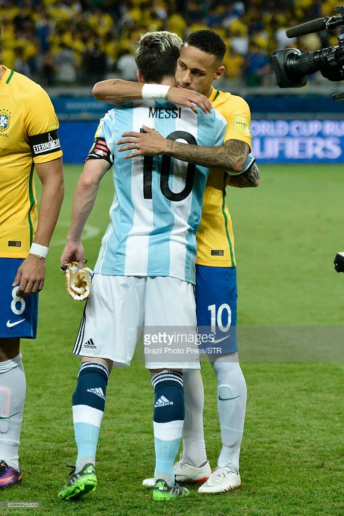 Neymar Jr of Brazil greets Lionel Messi of Argentina prior a match between Argentina and Brazil as part of FIFA 2018 World Cup Qualifiers at Mineirao Stadium on November 10, 2016 in Belo Horizonte, Brazil.