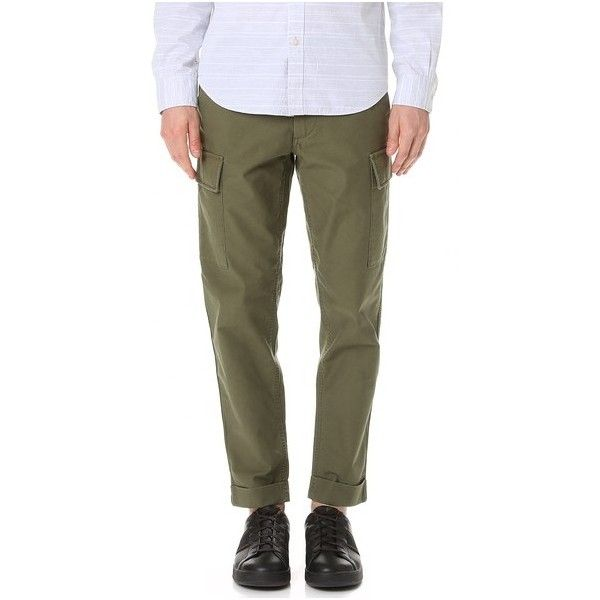 Club Monaco Tapered Military Trousers ($140) ❤ liked on Polyvore featuring men's fashion, men's clothing, men's pants, men's casual pants, olive, mens military cargo pants, mens zipper pants, mens tapered pants, mens military style cargo pants and mens olive green pants