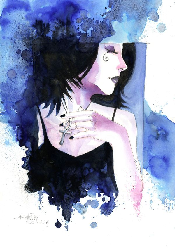Death from Neil Gaiman's Sandman series. Art by Javier Pacheco (blue version).