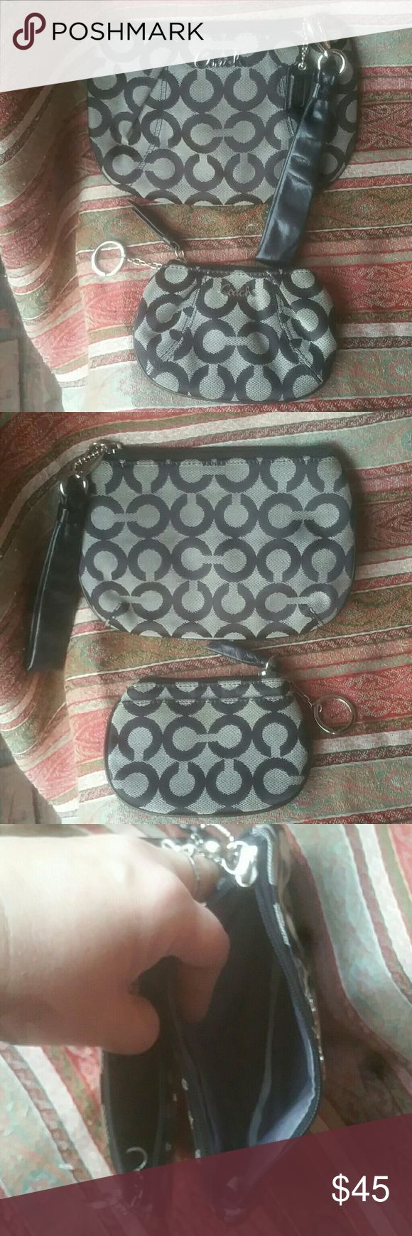 Coach Wristlet Set Large Wristlet Key chain Coin Coach Wristlet Set Large Wristlet Key chain Coin Purse  Goid used condition, has signs of use on outside  Great pair for your bag! Coach Bags Clutches & Wristlets
