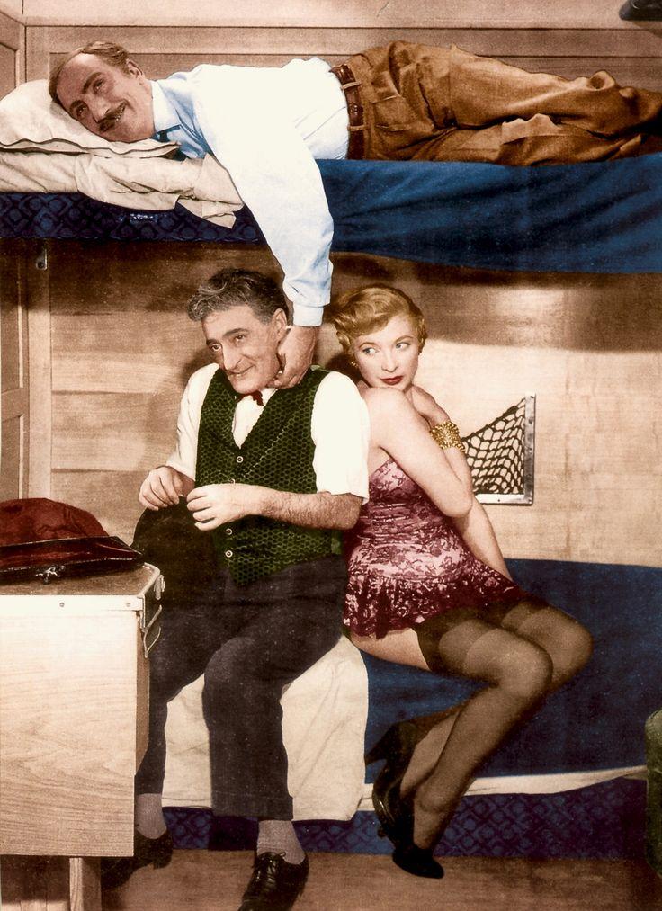 """Totò (Antonio De Curtis; below), Mario Castellani and Isa Barzizza in Steno (Stefano Vanzina)'s comedy """"Totò a colori"""" (English title: """"Totò in color""""; 1952)."""