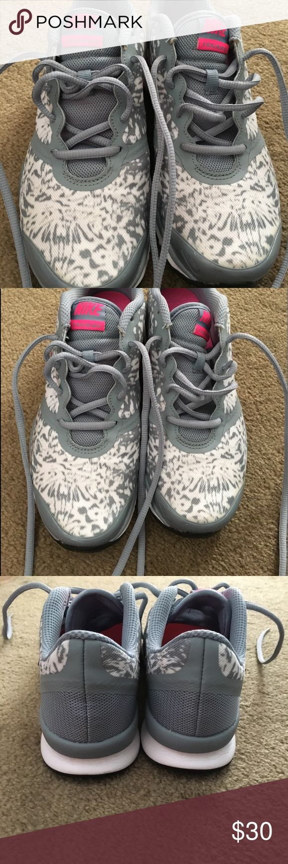 """Nike In Season TR Print training shoes 6.5 Nike training shoe, size 6.5, grey/white """"splatter"""" print. Worn maybe once or twice. Has sockliner. The tongue is completely sewn in, which I've shown in one of the pictures. Comes with box. Smoke and pet free home. Nike Shoes Athletic Shoes"""