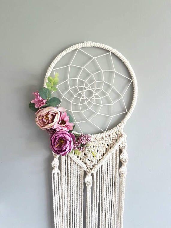 Floral Dreamcatcher Macrame Purple Dream Catcher Dream