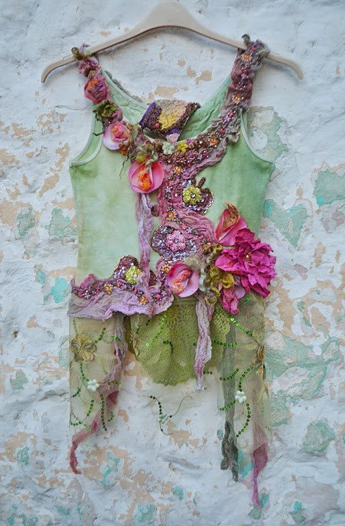 Shabby chic,Bohemian,Upcycled top ,gypsy, altered couture , embellished top wearable art redesign top Summer Flowers(RESERVED FOR I.)