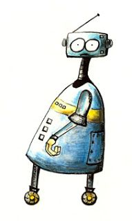 """The first of the """"Woebot Series"""" - Original artworks of robots who are lacking confidence and social panache. Watercolour and ink pen. Available for sale soon on greeting cards on www.felt.co.nz"""
