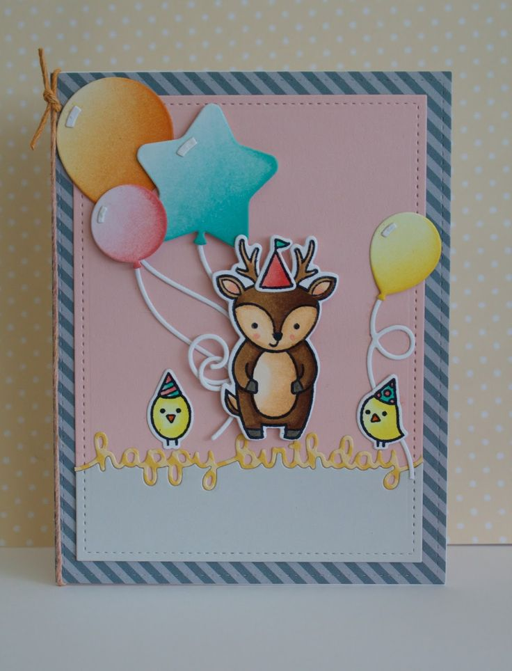 Card Making Party Ideas Part - 45: Lawn Fawn Video A Colorful Birthday Card With Lizzy