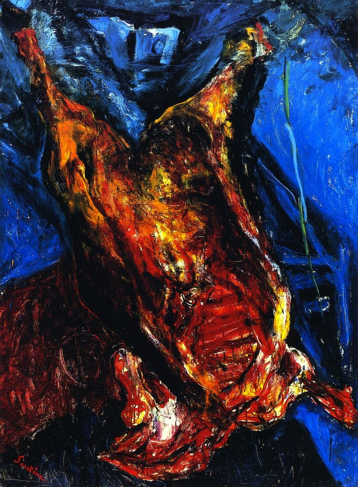 Carcass of Beef - Chaim Soutine--- Peter liked this artist, when I first met him. I had trouble relating to it back then. Now, I get it...but Peter's gone and I can't tell him. amf.