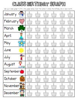 Free printable birthday graphing activity
