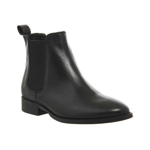 Office Bramble Chelsea Boots (£68) ❤ liked on Polyvore featuring shoes, boots, ankle booties, ankle boots, black leather, women, leather bootie, black bootie, leather boots and black leather booties