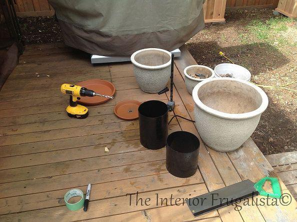 květináče vodní fontány, krok za krokem tutorial, kutilství, jak, venkovní bydlení, rybníků vodní prvky, využití stávajících upcycling, Jedná se o materiály, které jsme použili pro tento projekt Při použití keramických nádob, budete potřebovat keramické vrták velikost kašna čerpadlo 100 GPH