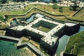 Castillo de San Marcos. A fort, now a National Monument, a living history museum which interprets life in colonial, St. Augustine circa 1740