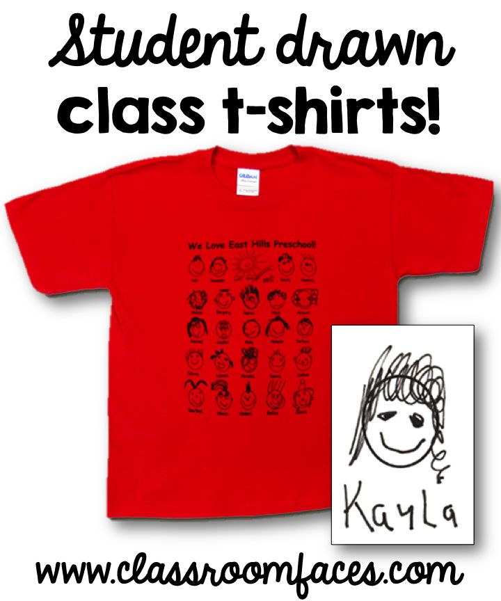 Custom Class Shirts You Will Love! Students draw their face, you send them in, and they print! Super easy and they make a great little keepsake families will treasure! #SimplyKinder