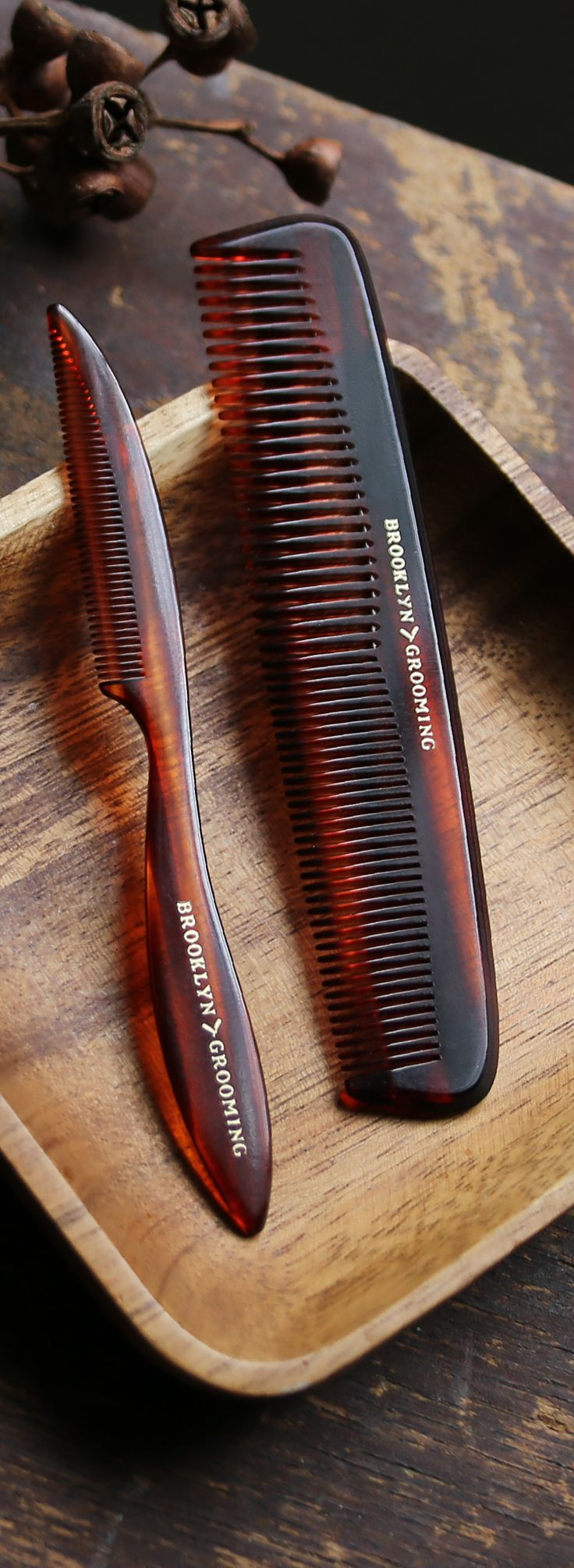 Introducing our limited edition custom engraved mustache and beard comb. An iconic grooming accessory and the perfect gift for beard and mustache lovers! Comb features our Brooklyn Grooming logo in go