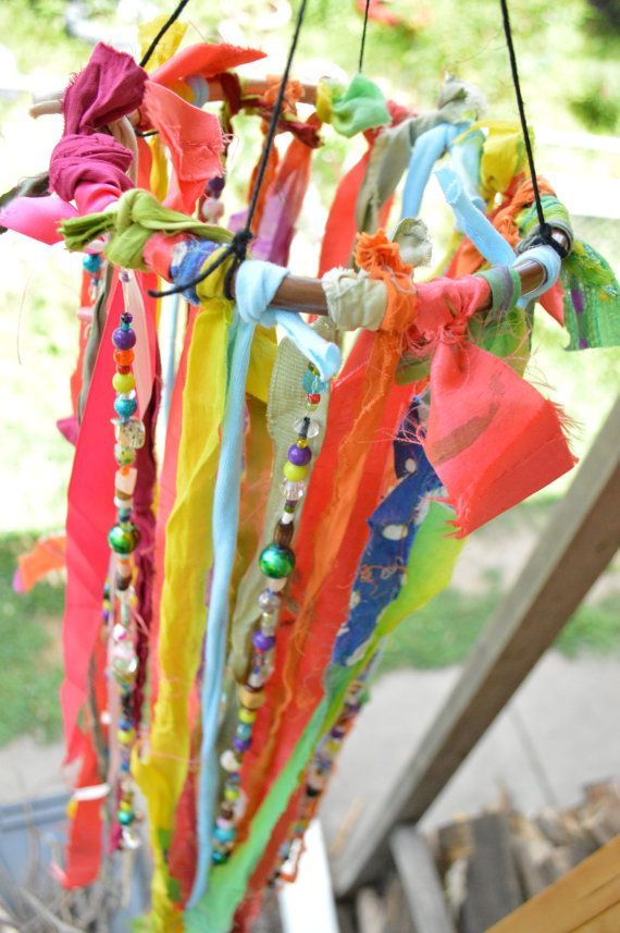 Inspired by Bohemian garland. This wind chime/ mobile/ hanging art is made with copper, fabric, ribbons, and beads of many types. Very colorful,