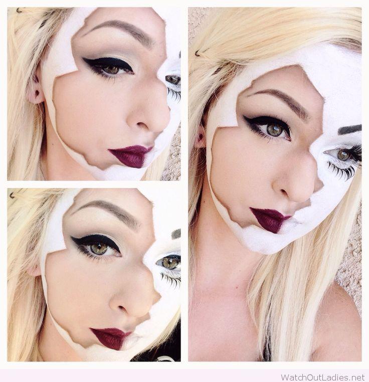Broken doll Halloween makeup                                                                                                                                                                                 More