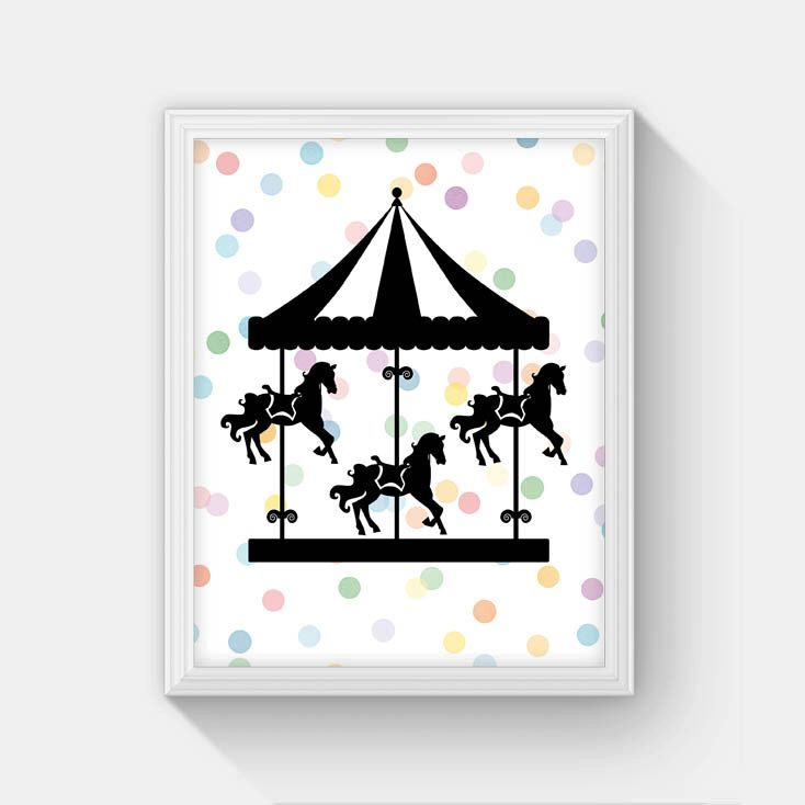 Carousel Print, INSTANT DOWNLOAD, Printable Carousel Art Print, Carousel Horse, Carnival Nursery Decor, Kids Room Decor, Polka Dot Art, 8x10 by MasellaDesigns on Etsy https://www.etsy.com/listing/242352368/carousel-print-instant-download