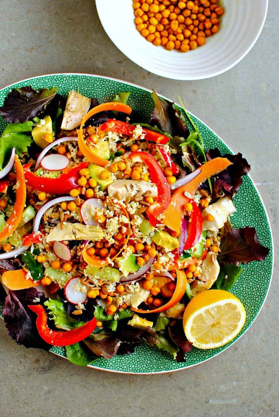 Loaded cauliflower 'couscous' salad with roasted turmeric chickpeas