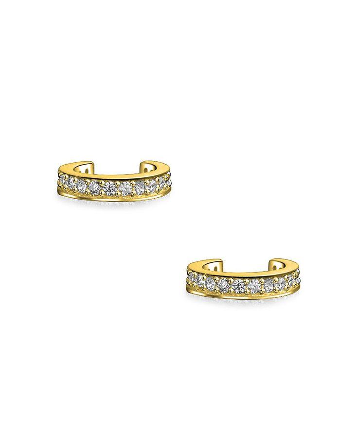 Bling Jewelry Petite Modern CZ Gold Plated Silver Ear Cuffs DNQnULQyU