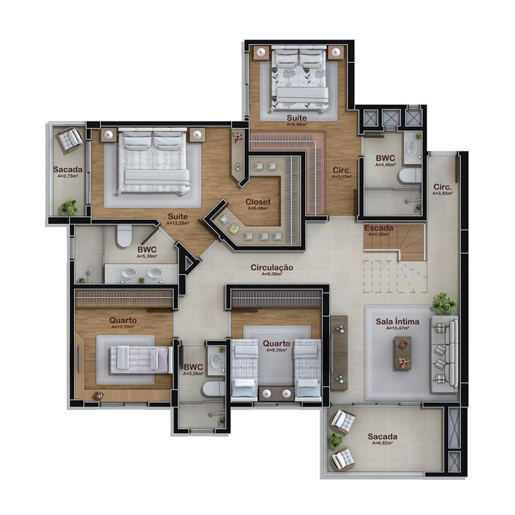 236 m² - cobertura duplex - pavimento inferior