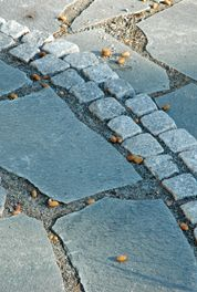 Cobble stone edge and slate stones detail