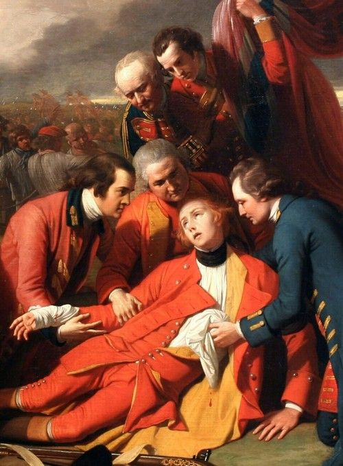 The Death of General Wolfe, by Benjamin West, detail (1770).